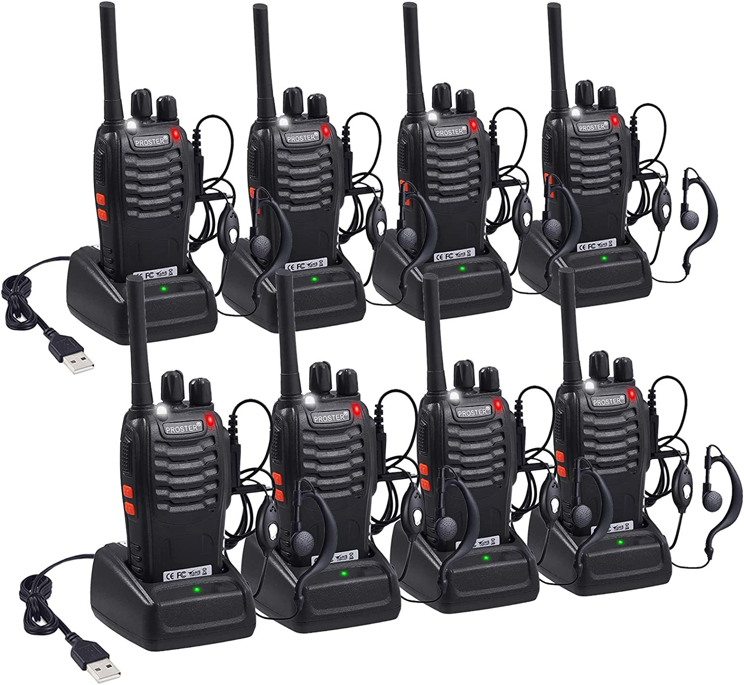 Proster Rechargeable Walkie Talkies Kids 16 Channel Two Way Radios with USB Charger Earpiece Mic Walky Talky 2-Way Radio Transceiver Long Range 4 Pair