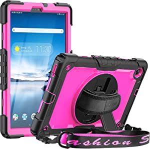 SEYMAC Case for Lenovo Tab M10 FHD Plus 10.3 Inch (2020 2nd Gen), Shockproof Rotatable Handle Stand Cover with Screen Protector Kids Friendly Case for Lenovo Tab M10 Plus TB-X606F TB-X606X,Black/Pink