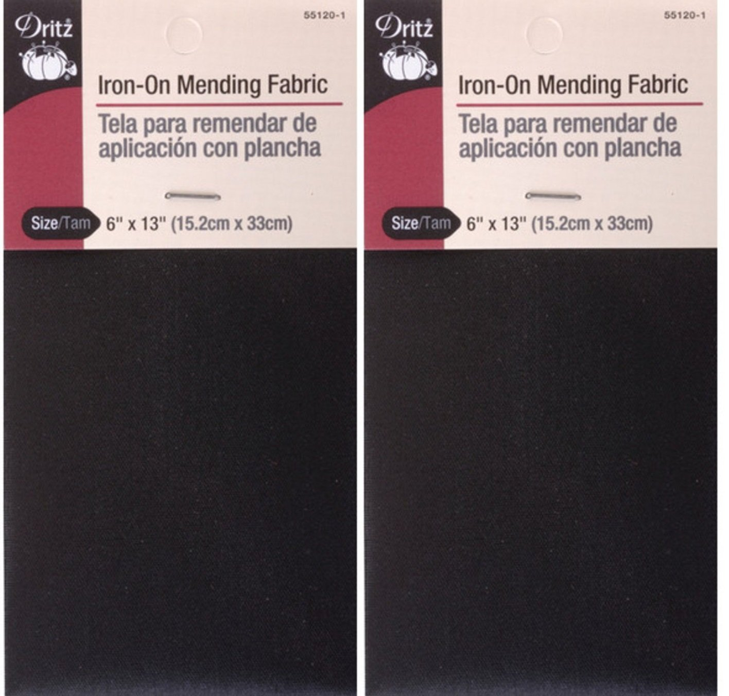 2 Pack Black Dritz 55120-1 Iron-On Mending Fabric 6 by 13-Inch