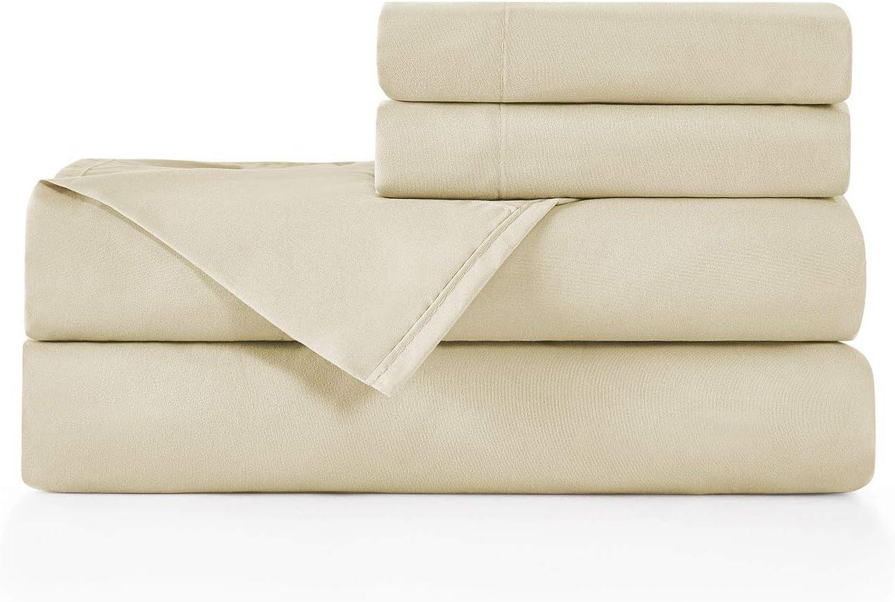 BASIC CHOICE Brushed Microfiber Bed Sheet Set, Beige, King, 4 Pieces
