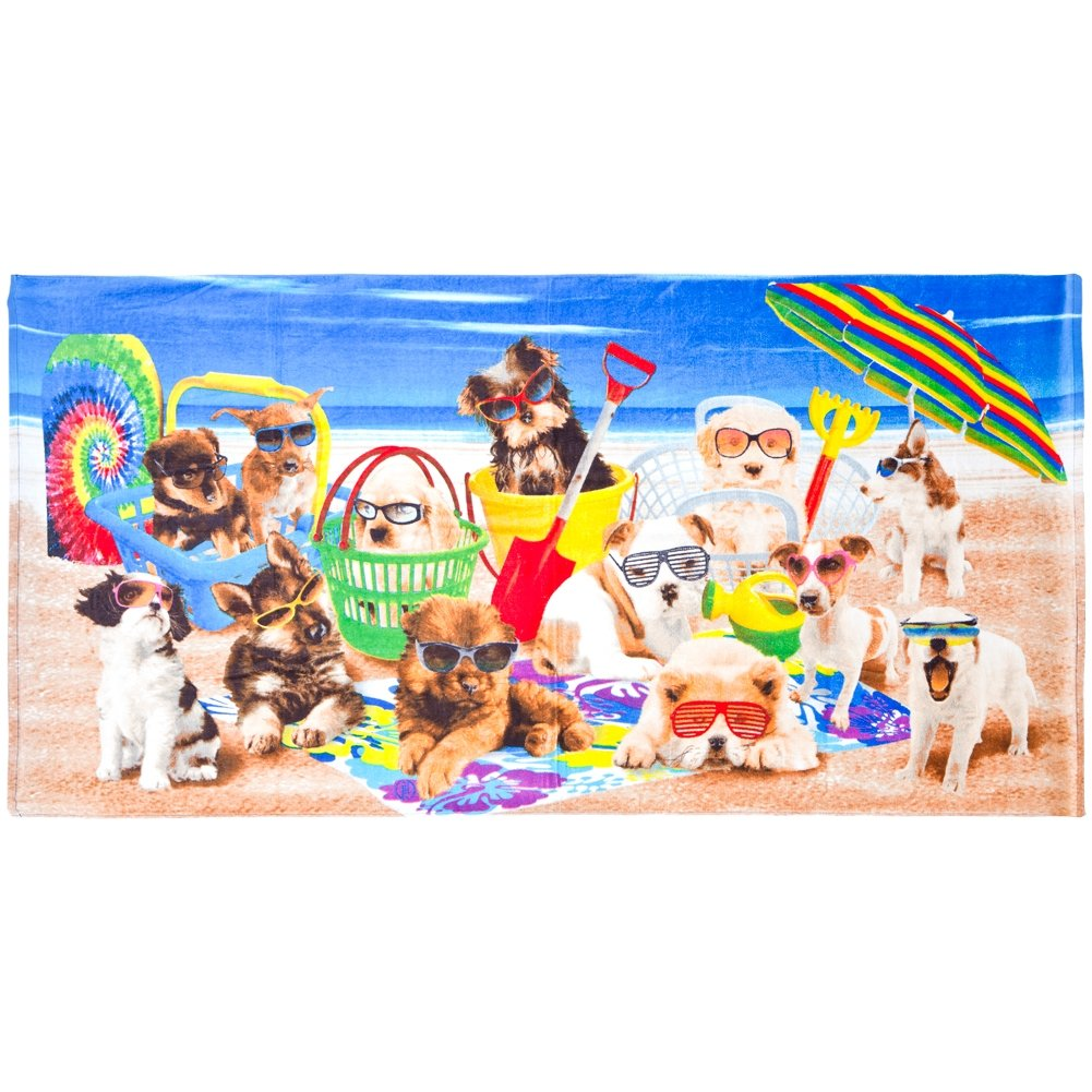 Animal World - Dogs Being Cool at the Beach Velour Beach Towel
