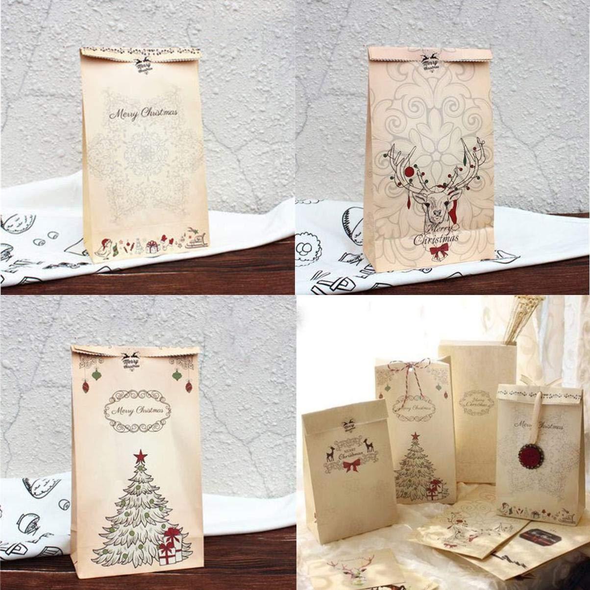 Cabilock 46pcs sacchetti regalo per caramelle natalizie set tote bag in carta kraft retro confezione sacchetto forniture per feste per biscotti al cioccolato caramelle