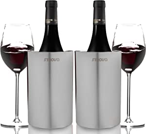 Strova Wine Bottle Chiller (Set of 2) Double Wall Stainless Steel Insulation for Party, Event or Hosting – Insulated Cooler Bucket Fits Standard Sized Wine and Champagne Bottles