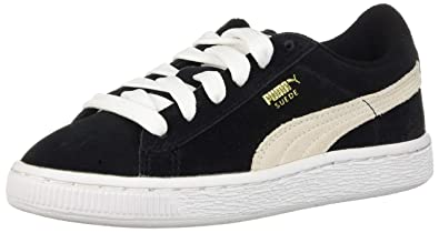 uk availability 894c1 cbf0d PUMA Suede Junior Sneaker (Little Kid Big Kid) , Black White,