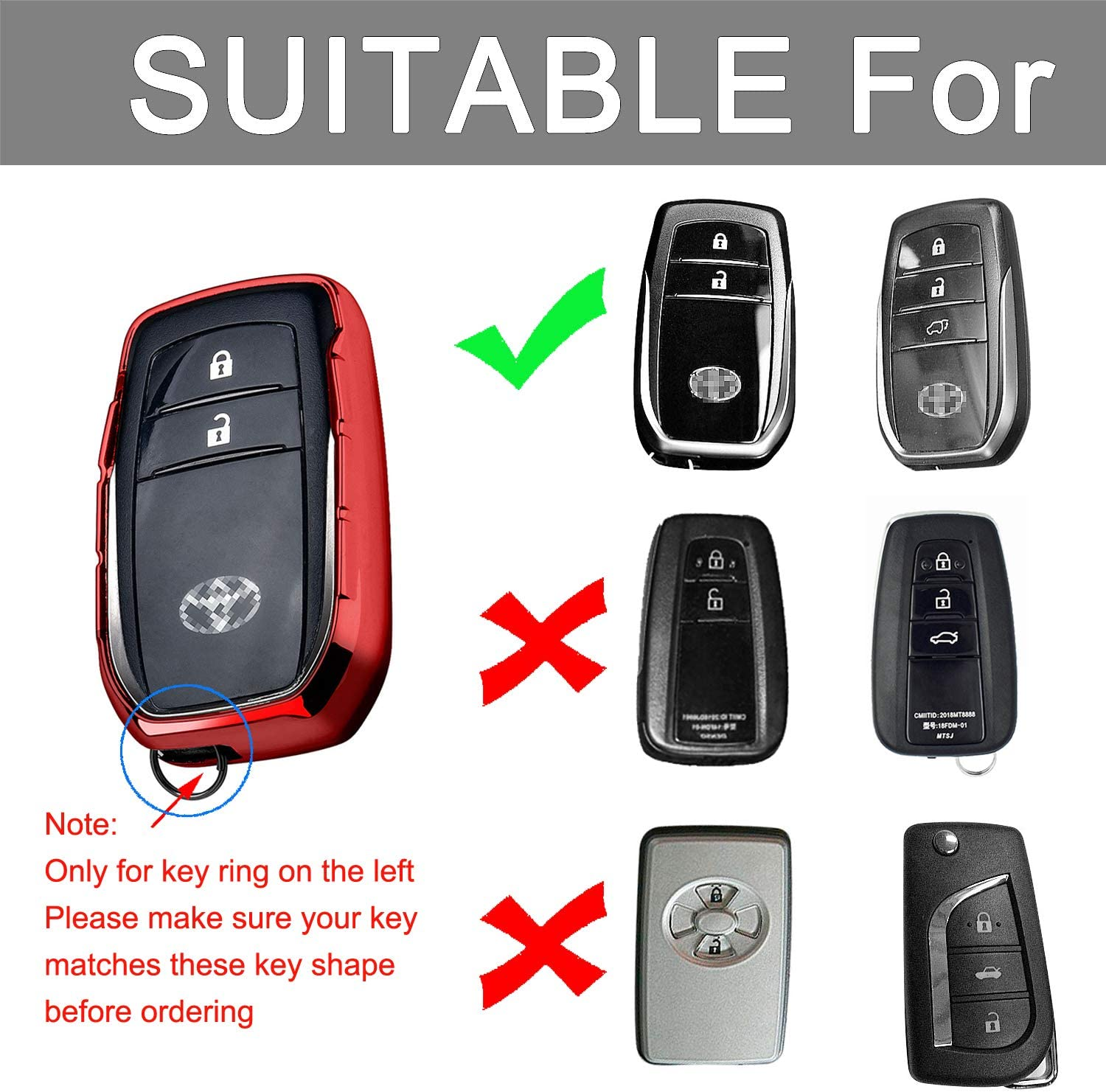 YIJINSHENG TPU Car Key Soft Plating Protection Shell Case Quicksand Shining Star Cover for Toyota Holder Toyota Camry Highlander Rav 4 Corolla Smart Remote Key Shell with Key Chain Red