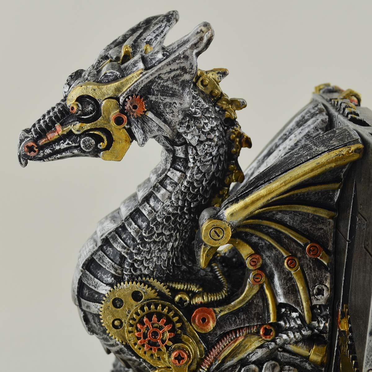 com Meccanico Dragon Cog fermalibri incredibilmente Dettagliato Altare Ornamento per Fan del Fantasy /& Steampunk prezents