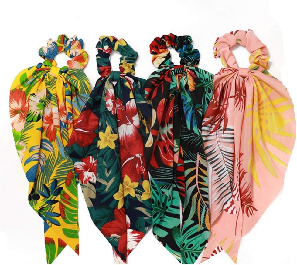 Lurrose 8pcs cinta de gasa bufanda de pelo de cola de caballo gomas para el cabello estampado de flores cintas elásticas para el cabello titular de cola de caballo para mujeres niñas
