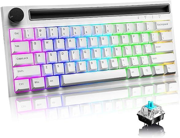 UrChoiceLtd 60% Teclado mecánico para Juegos Tipo C Cableado/inalámbrico Bluetooth 19 Chroma RGB Retroiluminación Recargable 4400mAh Perilla ...