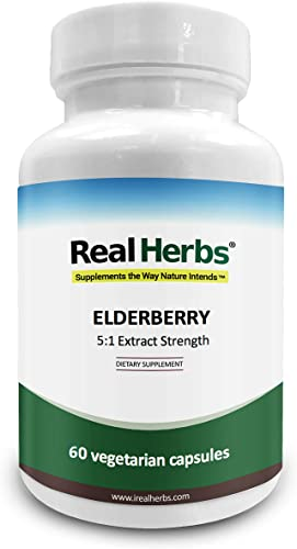 Real Herbs Elderberry Extract - 5 1 Extract with 5 Flavonoids - Boosts Immunity, Antioxidant Cardiovascular Support - 60 Vegetarian Capsules