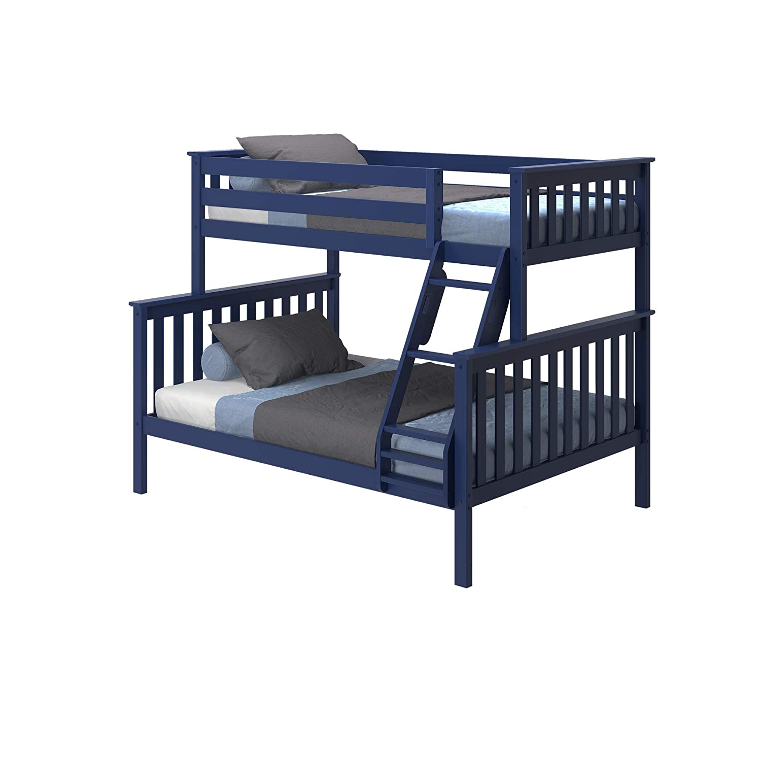 Max Lily Solid Wood Twin Over Full Bunk Bed, Blue
