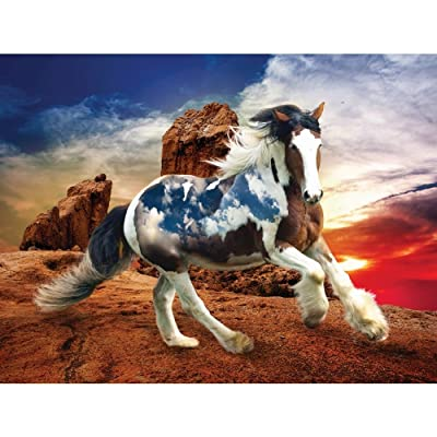 Heavenly Horses Into The Sunset 300 Piece Puzzle: Toys & Games