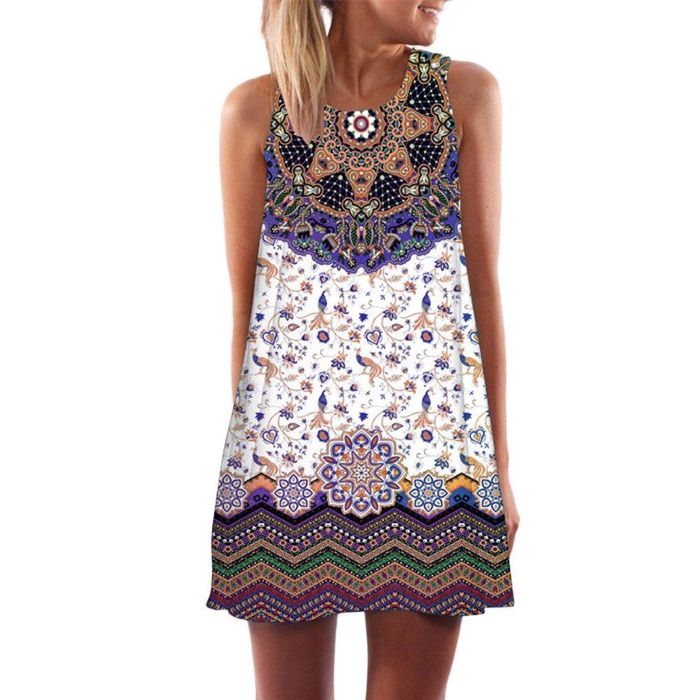 Seaintheson Womens Dress, Summer O-Neck Boho Sleeveless Floral Printed Beach Mini Dress Casual T-Shirt Short Skirt