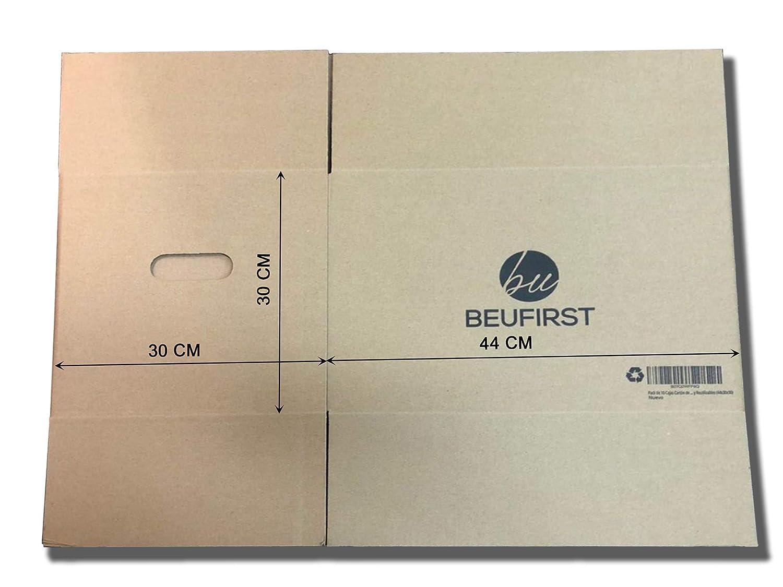 Pack de 10 Cajas Cartón Mudanza con Asas - (44x30x30) - Canal Doble 5 Capas de Alta Calidad Reforzado - Muy Resistentes y Reutilizables - Disponible ...