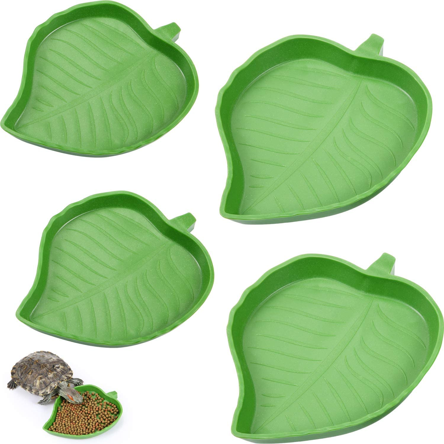 4 Pieces Leaf Reptile Food Water Bowl Plate Dish for Tortoise Corn Snake Crawl Pet Drinking and Eating, 2 Sizes
