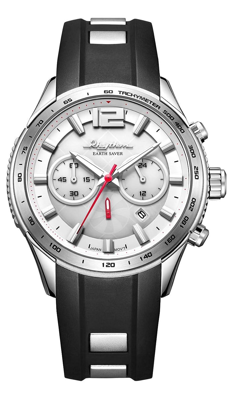 RHYTHM Herrenuhr Solar Earth Saver Chrono Armbanduhr Schwarz Silber - R-ES1401R06