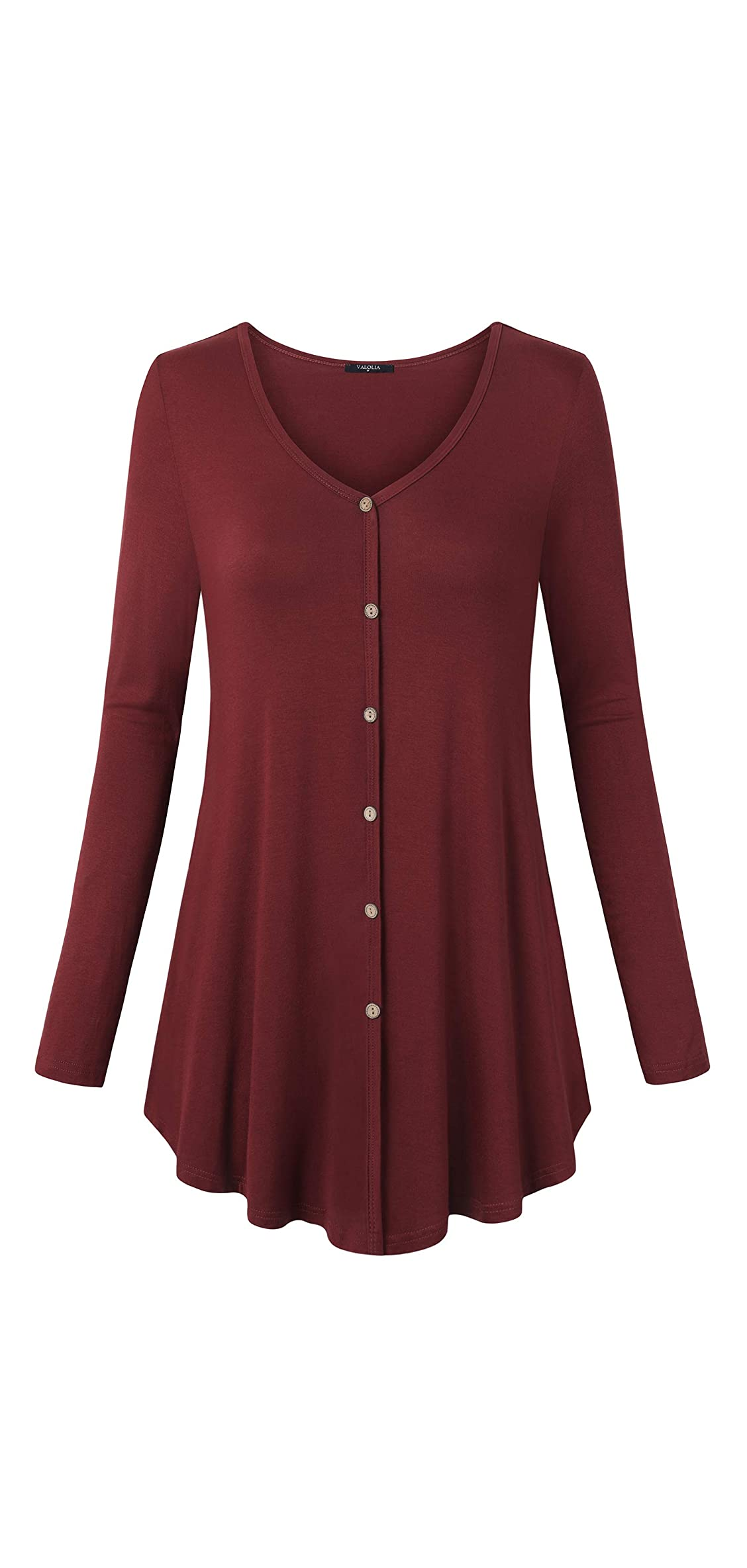 Women's Casual V Neck Long Length T Shirts Button Flare