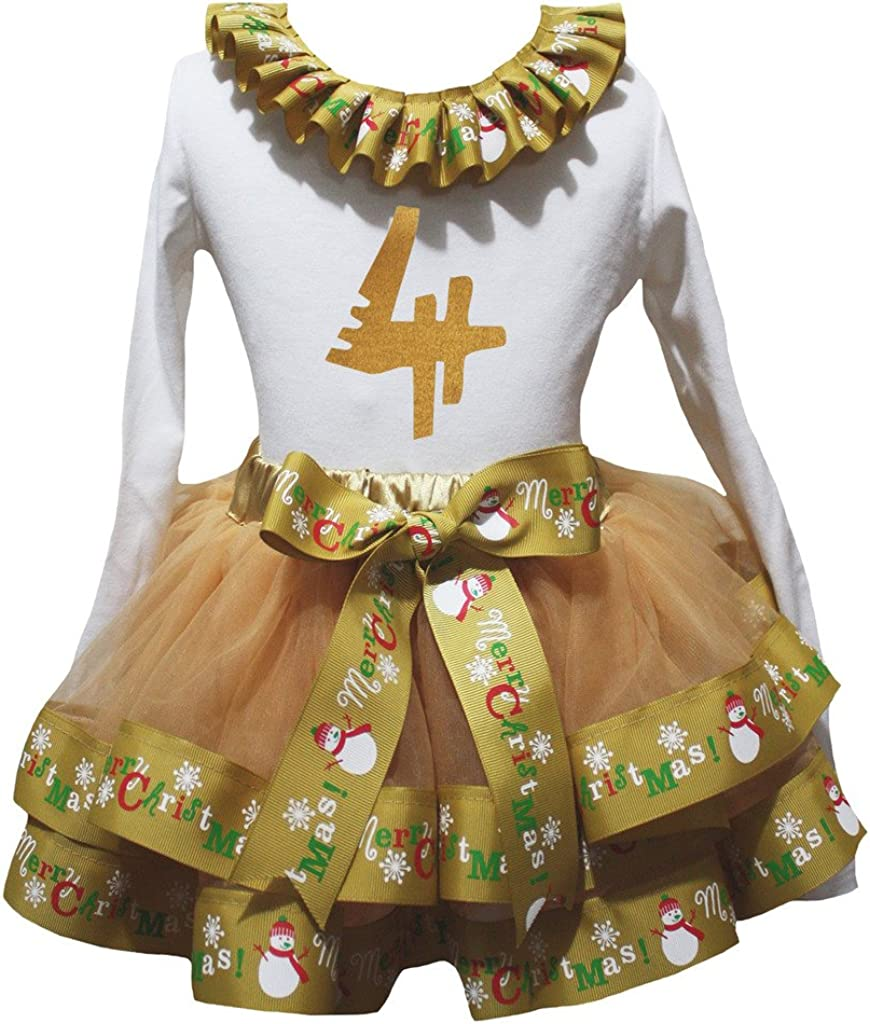 Petitebella Bling 2nd White Shirt Merry Christmas Gold Petal Skirt Outfit Nb-8y