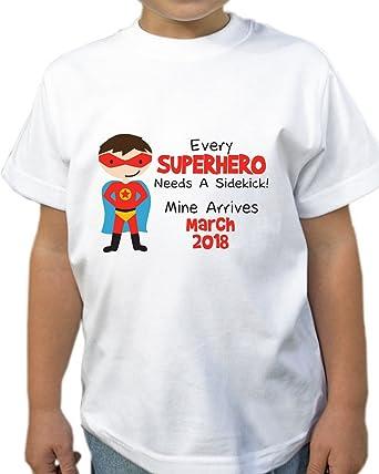 85286adc Personalised Superhero Sidekick Kids T Shirt Boys T-Shirt Style 3:  Amazon.co.uk: Clothing