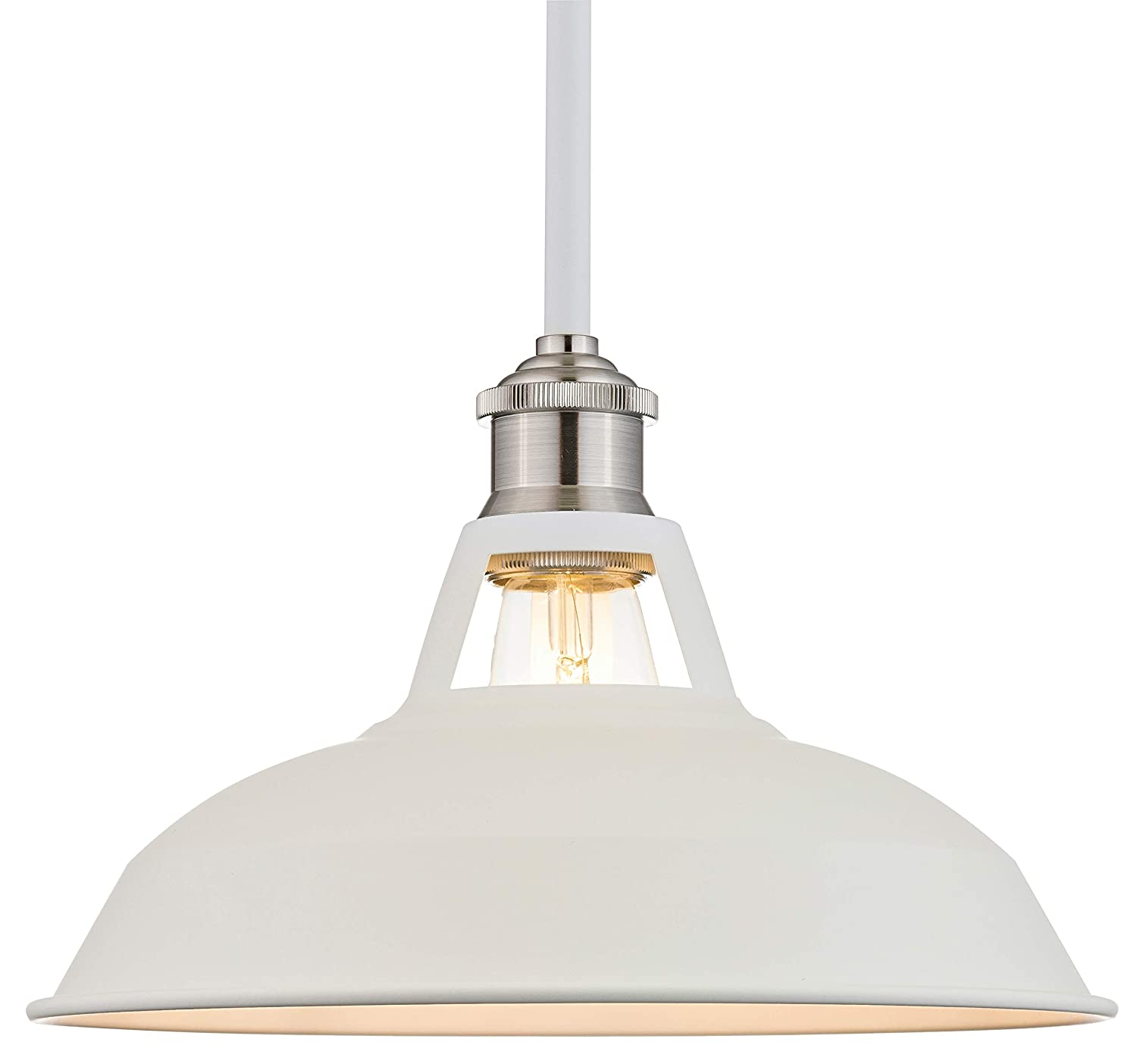 Olivera 10.5 inch Pendant Light White Pendant Lighting for Kitchen Island with LED Bulb LL-P833-10WH