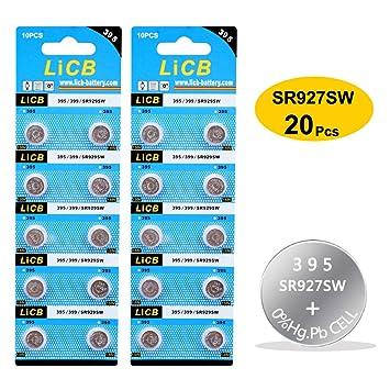 LiCB - Pilas de Botón para Reloj SR927SW SR929SW 395 399 AG6 (1,5 V, 20 Unidades): Amazon.es: Electrónica
