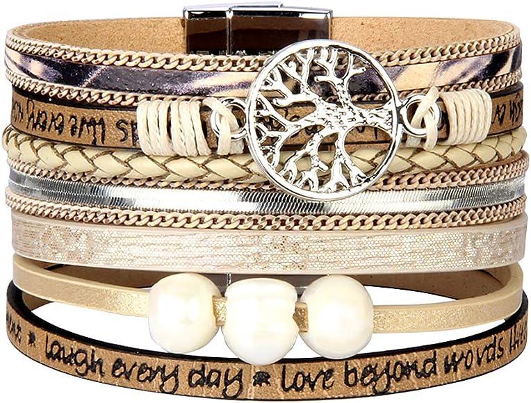 30135620251 Jenia Tree of Life Leather Wrap Bracelet Bohemian Jewelry for Women Boho Cuff  Bracelet -Beige