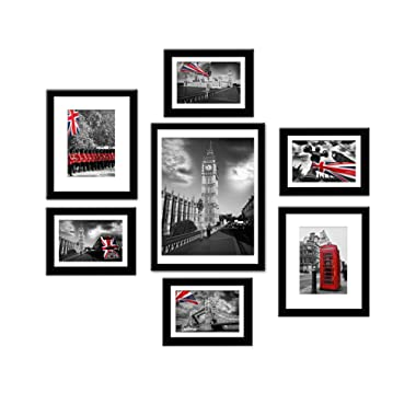 Picture Frames Set Black Solid Wood Photo Frames Collage Wall Gallery. 4 Pcs 5x7, 2 Pcs 8x10, 1Pc 12x16 with Mat, Picture Frame collection Display on a Wall or TableTop for Office, Living room