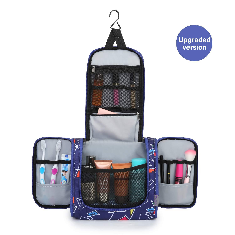 Mardingtop Reise Kulturbeutel Kosmetiktasche Kulturtasche Waschtasche zum Aufhängen für Herren Damen Kinder, 25 x 12 x 21 cm (Blue Grid)