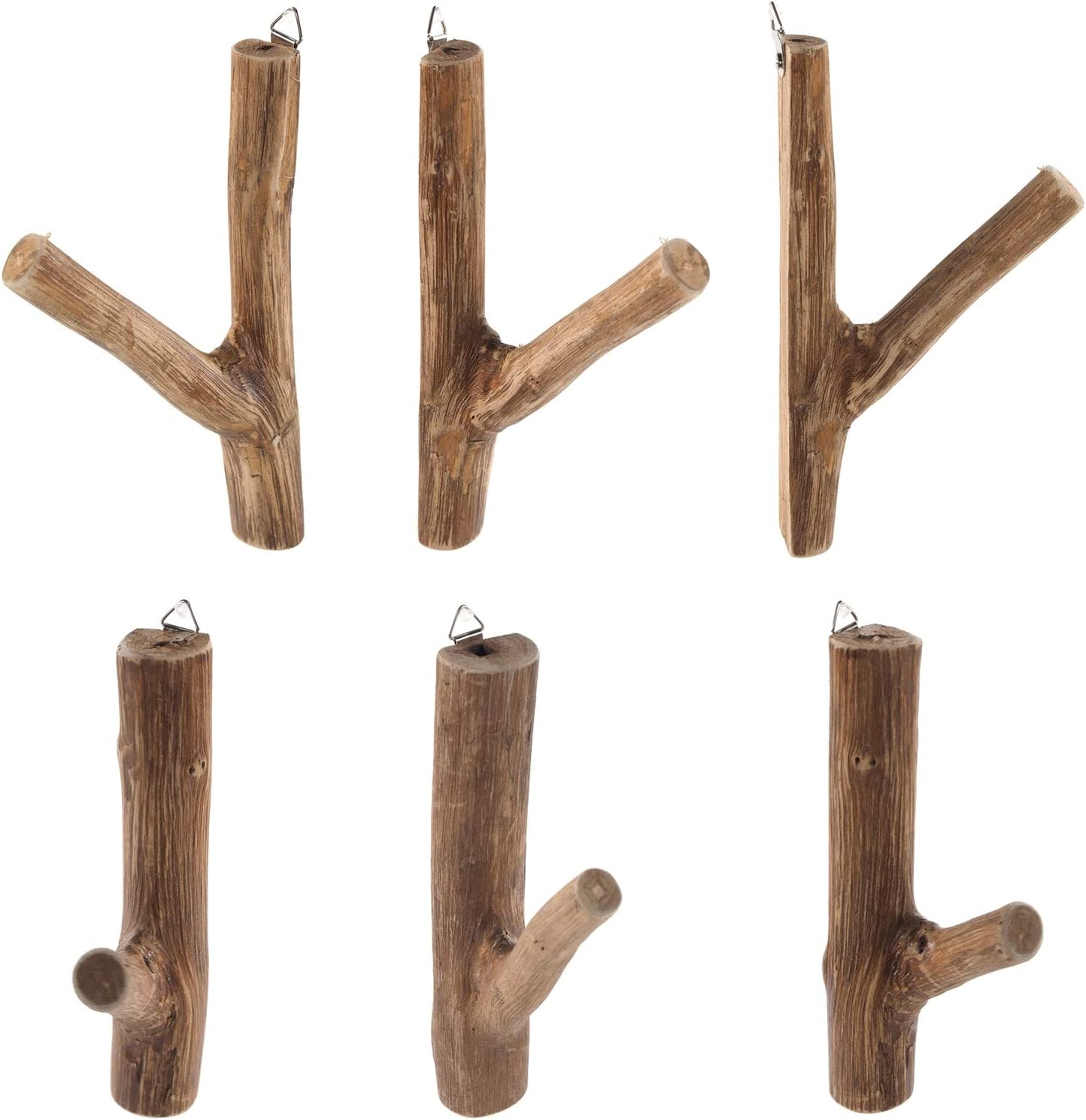 DESIGN DELIGHTS 6ER Set GARDEROBENHAKEN Limb 17x10x2,5 cm HxTxB ca Teakholz Wurzel | Shabby Kleiderhaken