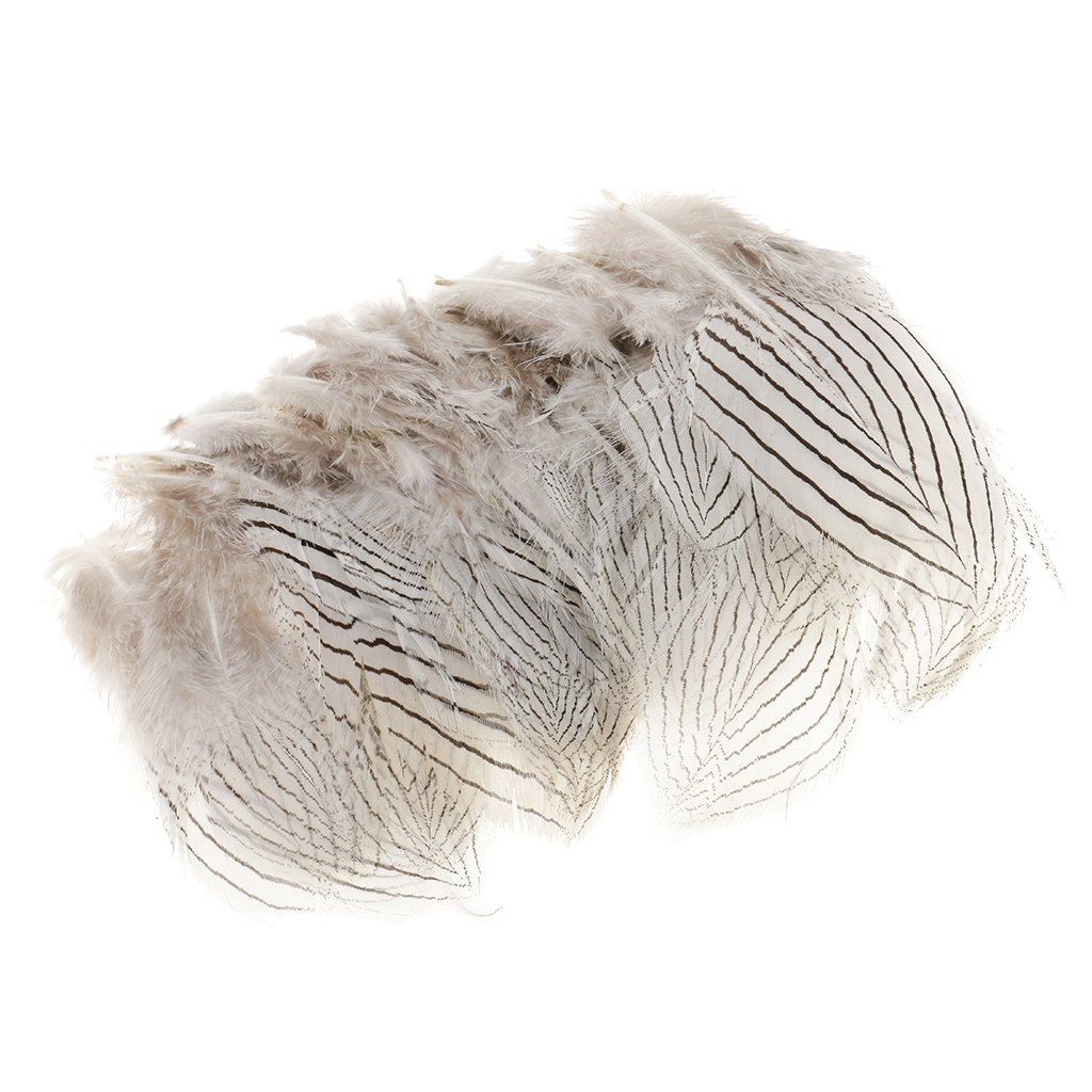 MagiDeal 100Pieces White Pheasant Feather Jewelry Decor Headgear DIY Crafts 5-10cm