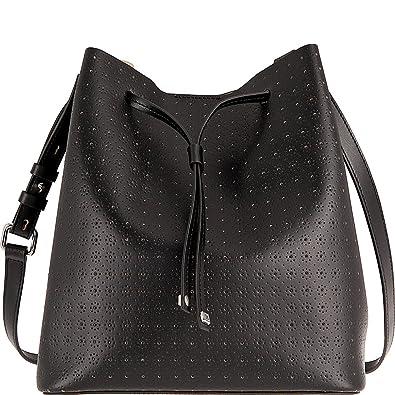 b0b56f670d Lodis Accessories Women s Blair Perf Gail Medium Drawstring Black Taupe One  Size  Handbags  Amazon.com