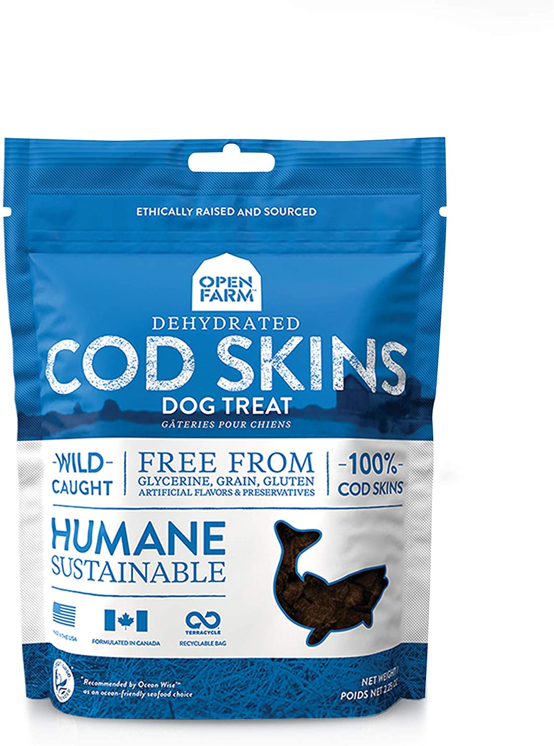 Open Farm Dehydrated Cod Skin Grain-Free Dog Treats, One-Ingredient Gently Cooked Pacific Fish Recipe with No Artificial Flavors or Preservatives, 2.25 oz