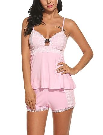 Hotouch Coton Short En Pyjama Chemise Set Nuit Femme Débardeur De 9E2HDI