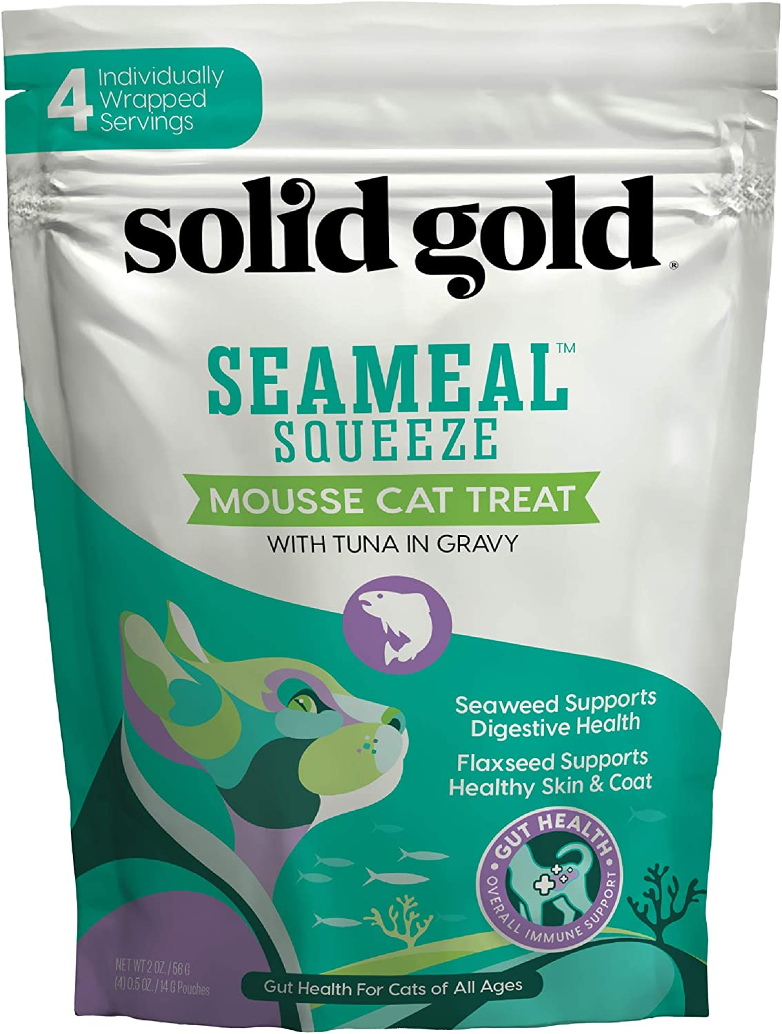 SeaMeal Squeeze Tuna Lickable Cat Treat with Seaweed for Skin, Coat, Digestive & Immune Health - Natural, Holistic, Grain-Free (48 Squeezes)