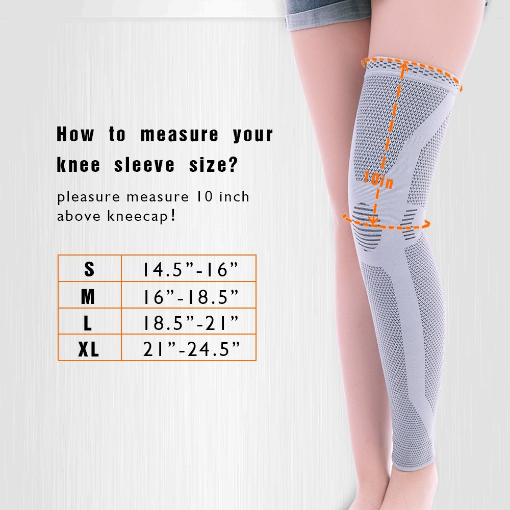 KANGDA Sport Knitted Compression Leg Knee Sleeve Support Warm Muscle Fixation Calf Thigh Protection 4-Way Stretch Pain Relief HT-03L