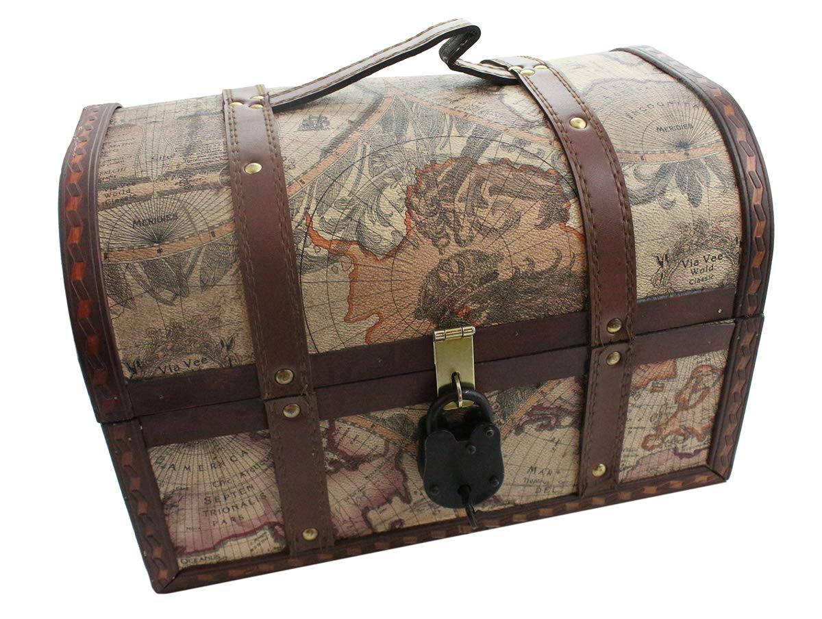 Well Pack Box Vintage Map Pattern Storage Trunk 13''x 9''x 9'' with Lock Pirate Treasure Chest Antique Style (Large) by Well Pack Box
