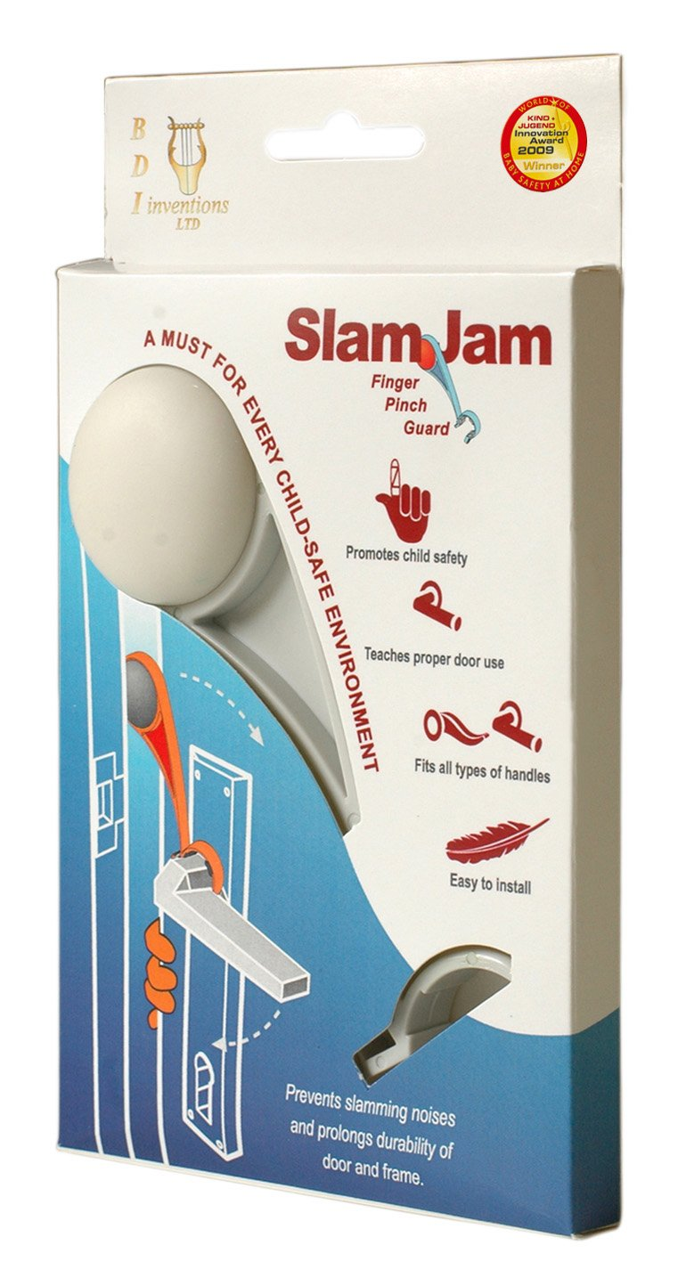 The Slam Jam- A Finger Pinch Guard that Prevents Baby-Children-Adult Fingers Getting Caught in Doors. Winner of the Best Safety At Home Product at the Kind&Jugend Fair, Germany.(White)