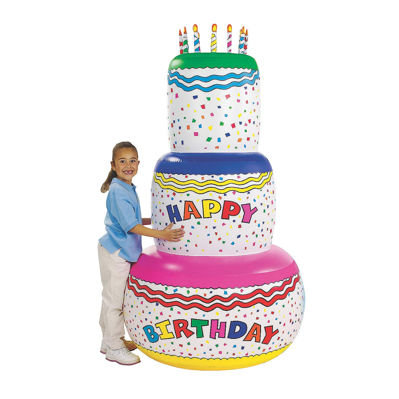 Fun Express - Jumbo Inflate Birthday Cake (72'') for Birthday - Toys - Inflates - Inflatable Decor - Birthday - 1 Piece