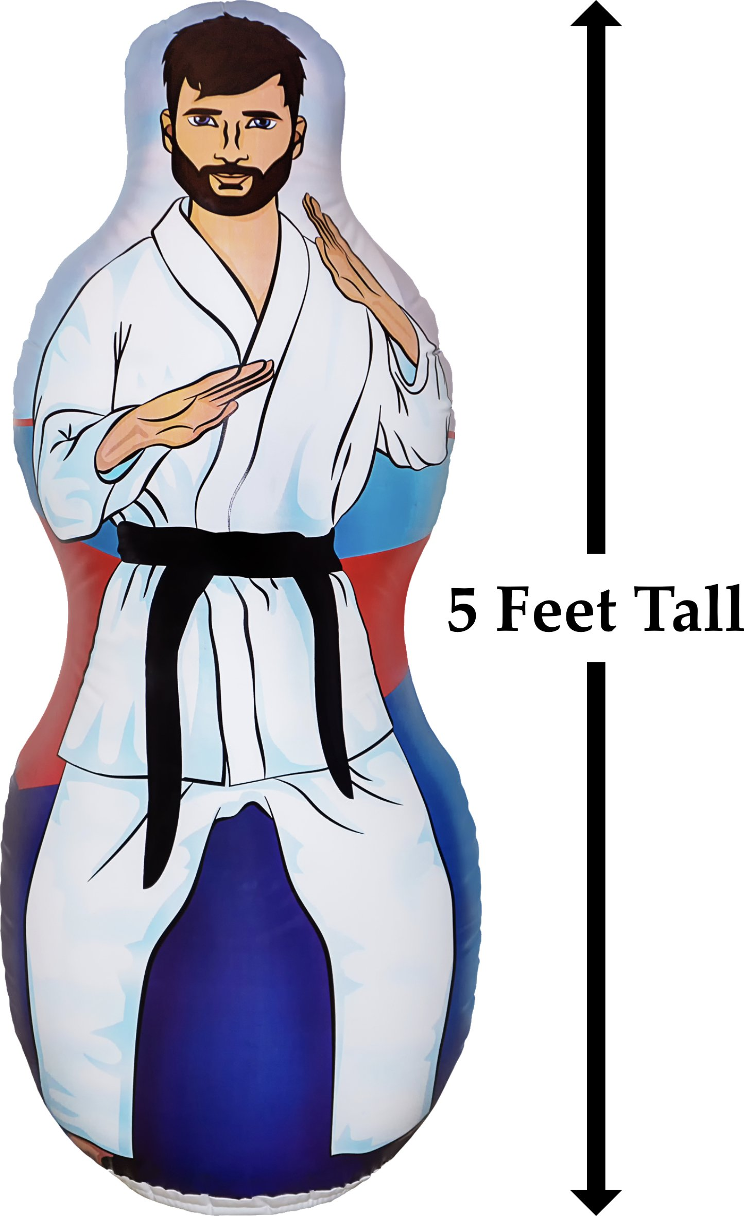 Infinafit Inflatable Two Sided Karate and Boxing Punching Bag   Includes One Inflatable 5 Foot Tall Bop Bag with Illustration of a Karate Master on One Side and Boxer on Reverse Side by ImpiriLux (Image #2)