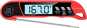 Professional Instant Read Waterproof Meat Thermometer by Cook's Kitchen - Easy-to-Use Digital Kitchen Thermometer with Backlight - Perfect for Cooking, Candy, Baking, Grilling, and BBQ!
