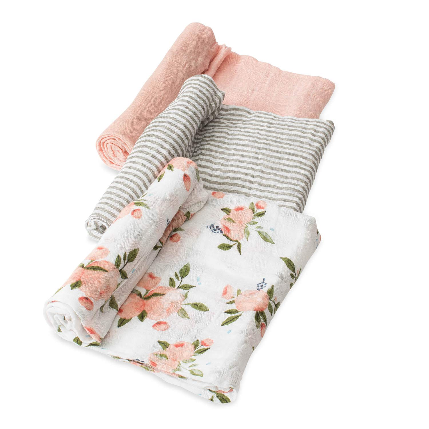 Little Unicorn Cotton Muslin Swaddle 3 Pack - Watercolor Roses
