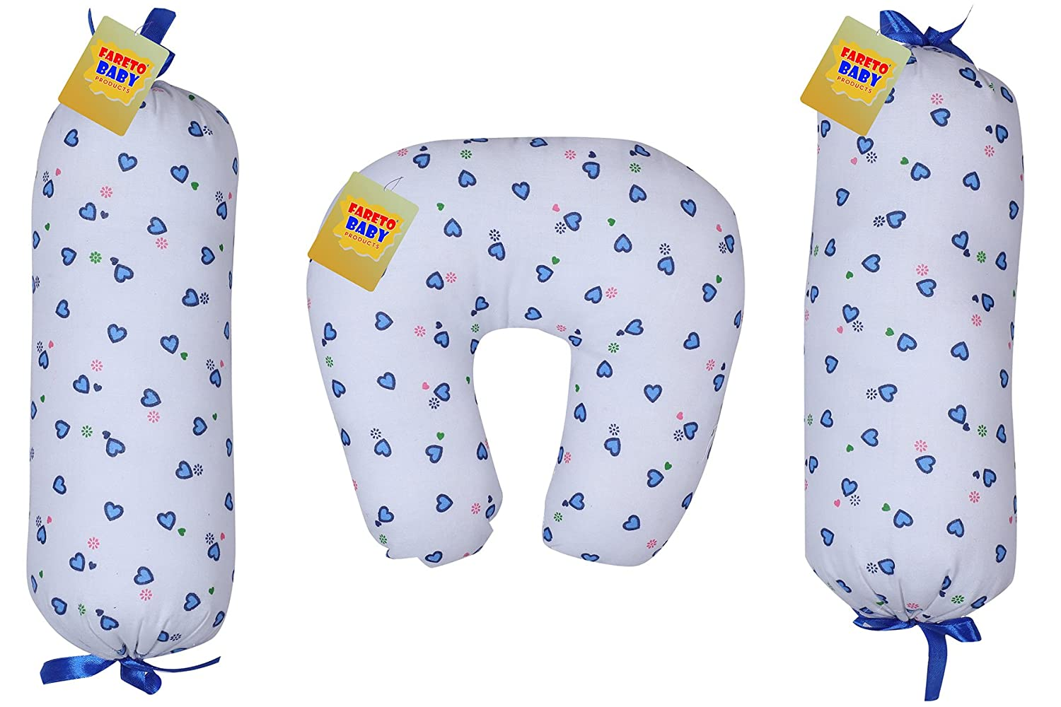 Fareto® Baby Combo of Baby Soft U-Shape Pillow & 2 Matching Lot Pillows/Recorn Filling Soft Pillow(0-3 Months)(Blue)