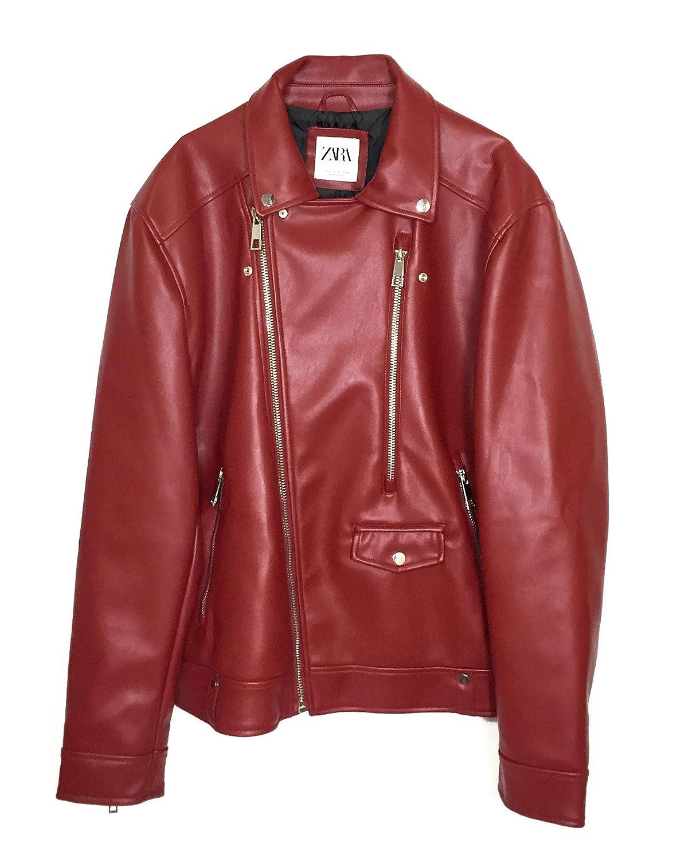Zara Men Faux Leather Biker Jacket 1966 400 Red At Amazon Men S