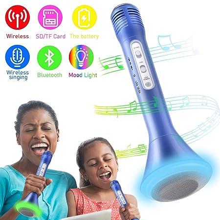 Bluetooth Karaoke Mikrofon, Portable Drahtlose Handmikrofon Lautsprecher Player Kabellos Mikrofon, Stereo Player für Musik sp