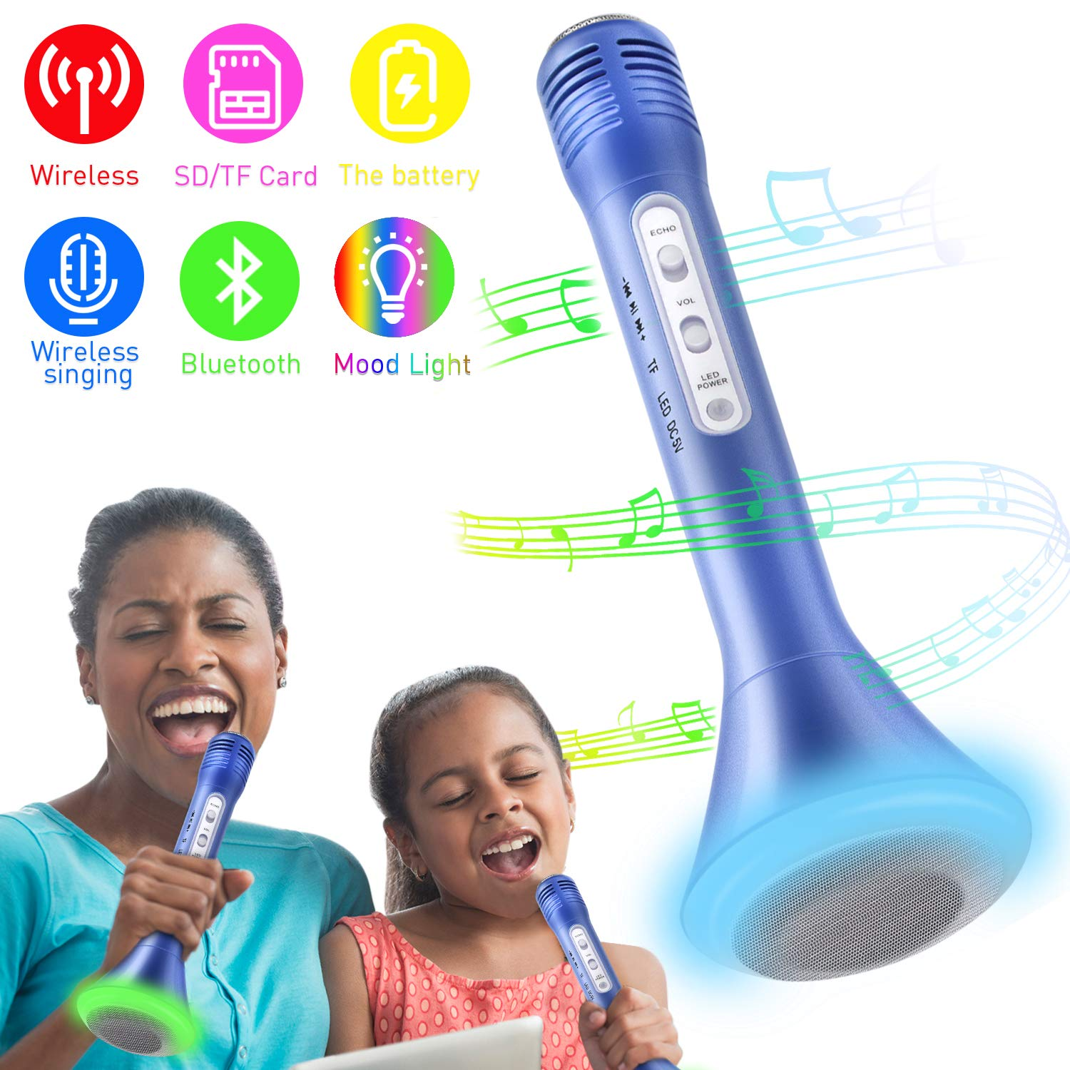 Karaoke Microphone,Wireless Bluetooth Karaoke Microphone Speakers with LED & Music Singing Voice Recording for Home KTV Kids (Blue)