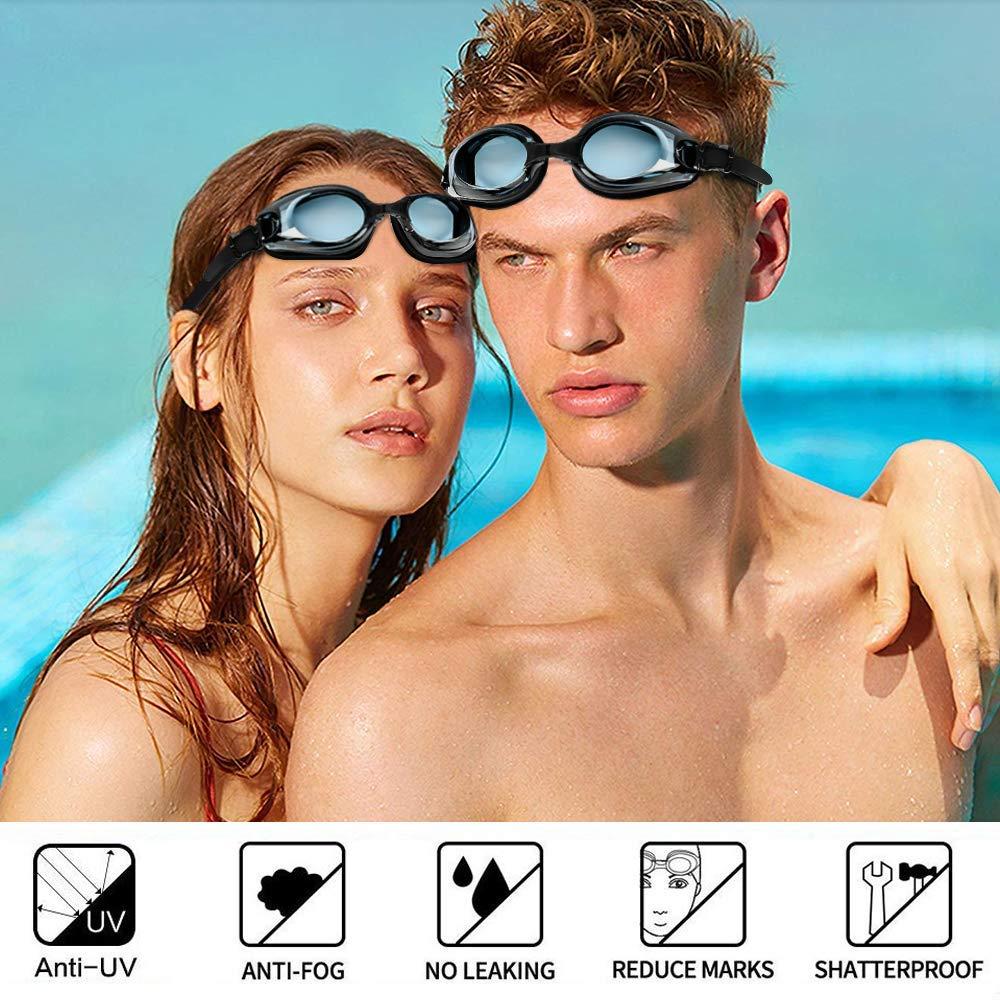 synmixx Schwimmbrillen mit UV-Schutz Anti Nebel Verstellbar Gurt Komfort Freizeit Profi Schwimmbrillen f/ür Herren Damen Kinder Ohrst/öpsel /& Nasenklammern Mitgeliefert Schwarz