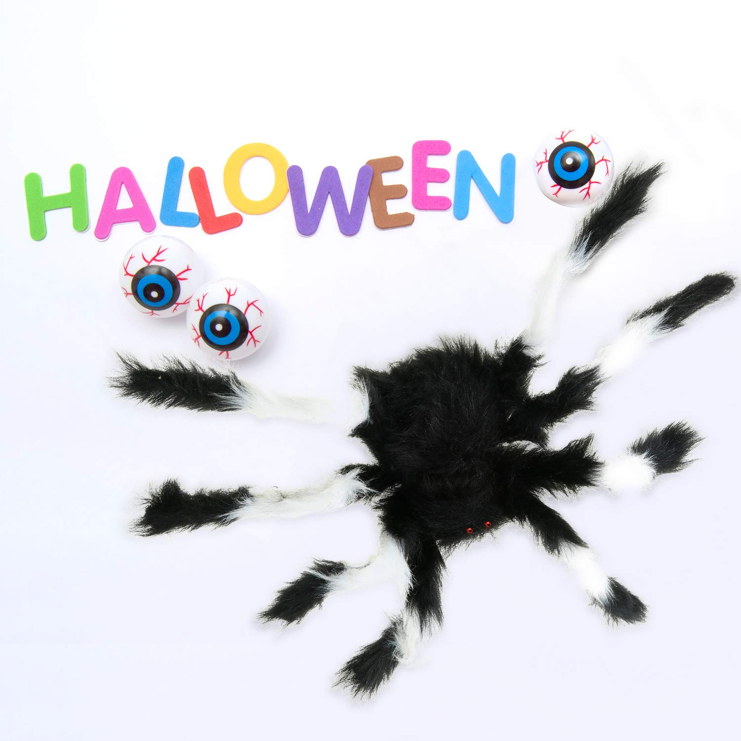 Gejoy Fake Spiders Plush Spiders Realistic Looking Spiders Hairy Spiders for Halloween Party Favors Decoration Props Black and White, Black and Orange
