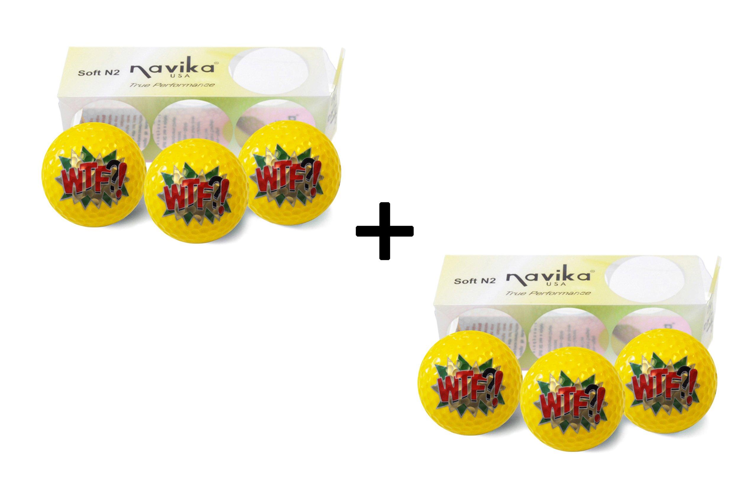 Navika Golf Balls- Yellow with WTF?! Emoji Imprint (2 PACK)