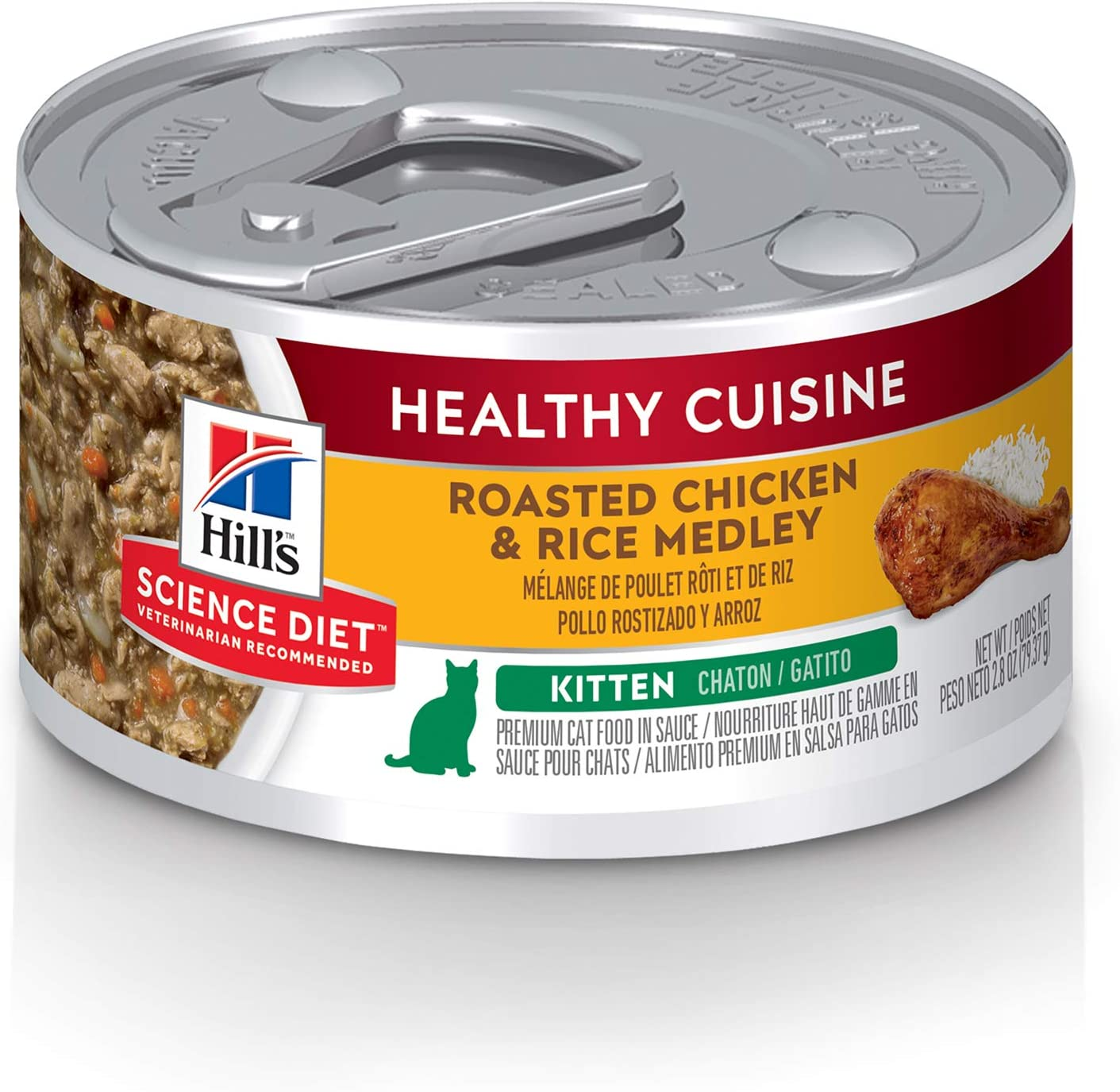 Hill's Science Diet Wet Cat Food, Kitten, Healthy Cuisine, Roasted Chicken & Rice Recipe, 2.8 oz Cans, 24-pack