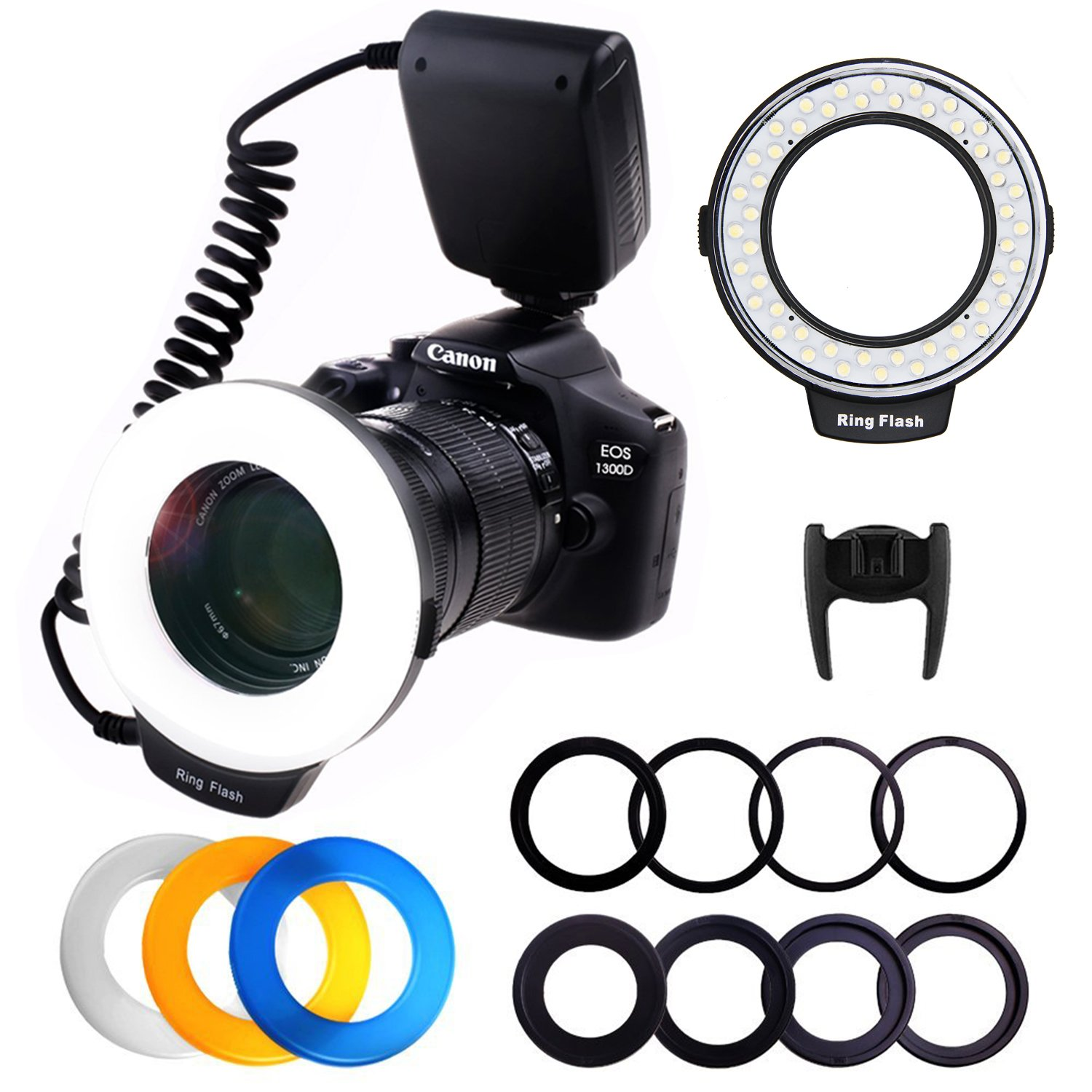 RPLOTURE 48 Ring Flash Light with LCD Display Adapter Rings and Flash Diffusers for Canon Nikon and Other DSLR Cameras, Fit 49, 52, 55, 58, 62, 67, 72, 77mm Camera Lenses by PLOTURE