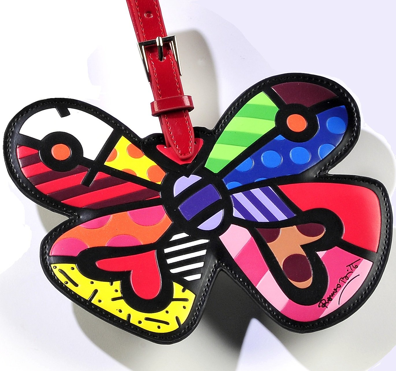 Romero Britto Lugggage Tag ID Custom Name (Multicolor/Butterfly-Heart)